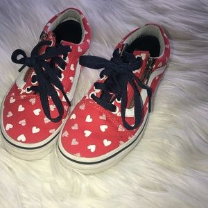 fa9c79f2c44485 Vans Shoes - Girls Old Skool Vans Side Zip Heart Vans Size 12.5